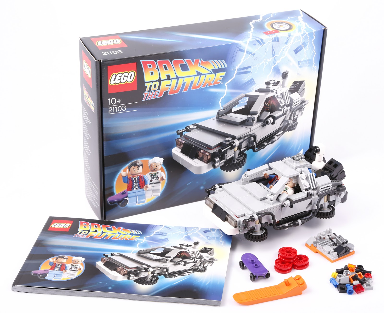 Lego Cuusoo 21103 Back to the Future Delorean time machine box instruction model parts