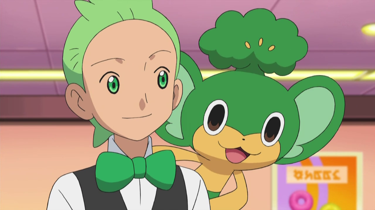Cilan_with_Pansage_on_his_shoulders