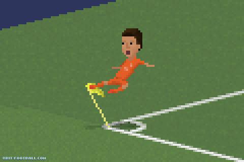 Klaas-Jan Huntelaar'ın Meksika maçını son dakikada kazandıran golü attıktan sonraki sevinci.
