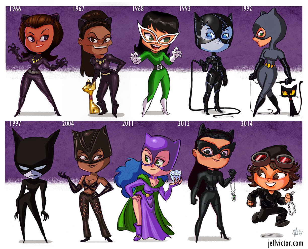 evolution-of-catwoman-cartoon-style-tribute-art-by-jeff-victor