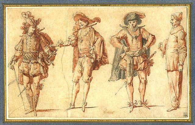 Four_Commedia_dell'Arte_Figures_claude-gillot