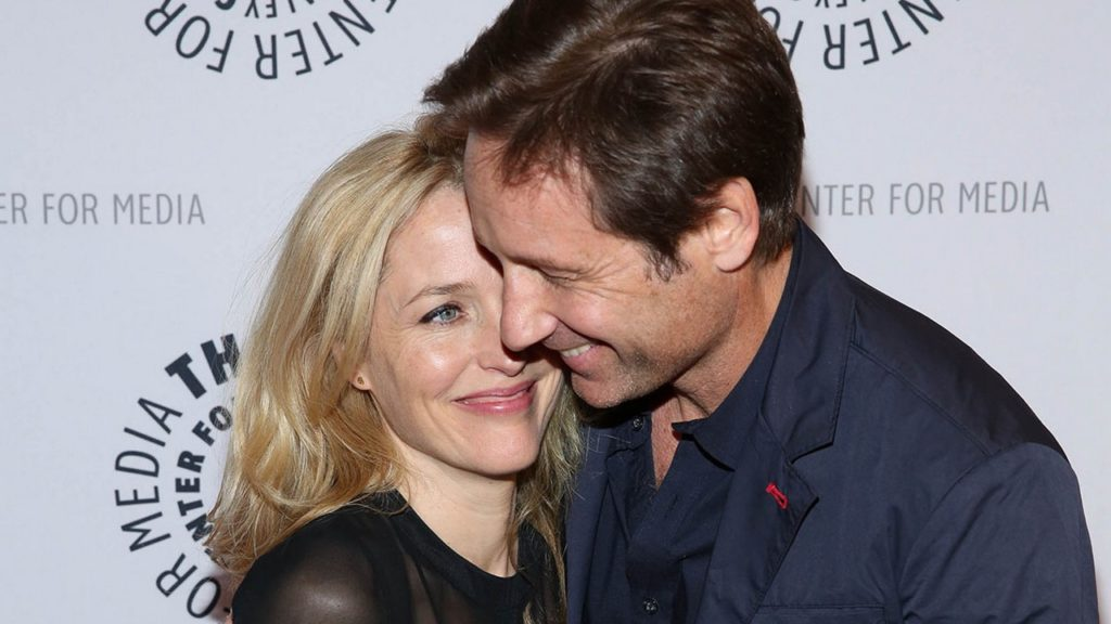 """NEW YORK, NY - OCTOBER 12:  David Duchovny and Gillian Anderson attend """"The Truth Is Here: David Duchovny And Gillian Anderson On The X-Files"""" presented by the Paley Center For Media at Paley Center For Media on October 12, 2013 in New York City.  (Photo by Rob Kim/Getty Images)"""
