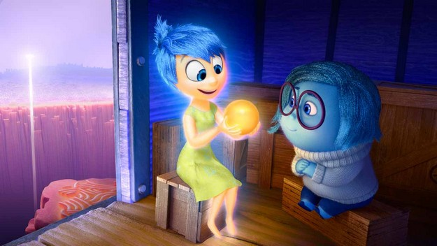 "Joy (voice of Amy Poehler) and Sadness (voice of Phyllis Smith) catch a ride on the Train of Thought in Disney?Pixar's ""Inside Out."" Directed by Pete Docter (?Monsters, Inc.,? ?Up?), ""Inside Out"" opens in theaters nationwide June 19, 2015. ?2014 Disney?Pixar. All Rights Reserved."