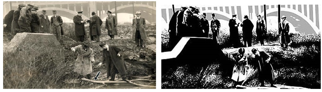 THE PLAIN DEALER  8/26/08 The Kingsbury Run murders terrorized Cleveland in the 1930s. The killings, which were never solved, are the subject of a movie that that could be filmed in Cleveland.   An image dated April 1938 from the Torso Murders, (also called the Kingsbury Run Murders) of Cleveland in the late 1930's.  Scanned on August 25, 2008 (the b&w arrow was on the original print)