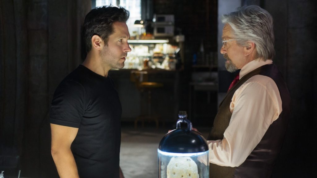 Marvel's Ant-Man..L to R: Scott Lang/Ant-Man (Paul Rudd) and Hank Pym/Ant-Man (Michael Douglas)..Photo Credit: Zade Rosenthal..? Marvel 2014