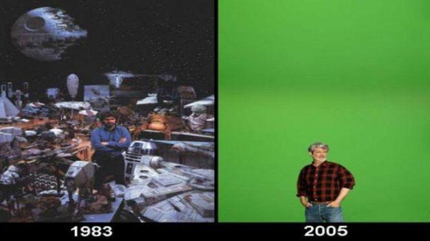 George Lucas orijinal üçlemenin setinde vs prequel üçlemenin setinde