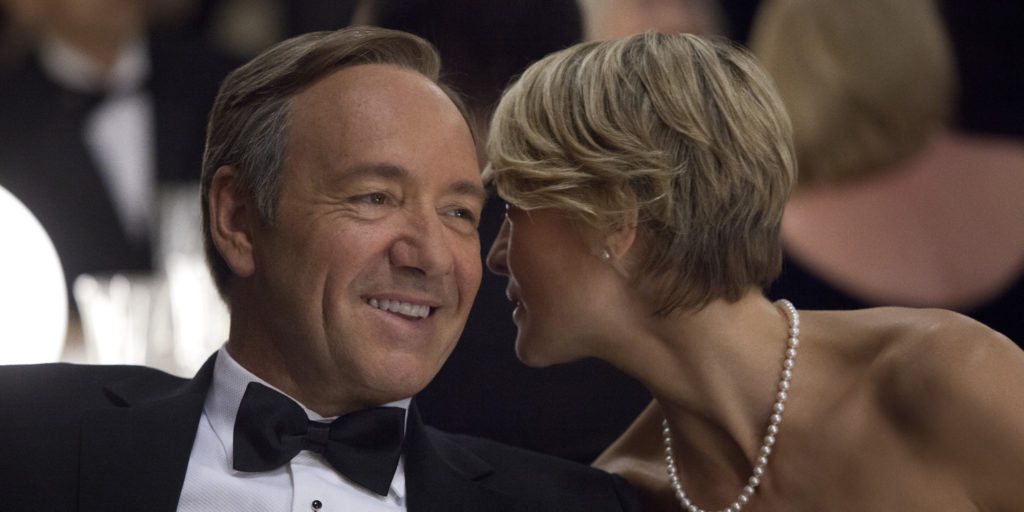 "This image released by Netflix shows Kevin Spacey as U.S. Congressman Frank Underwood, left, and Robin Wright as Claire Underwood in a scene from the Netflix original series, ""House of Cards."" The new original series arrived in one big helping _ all 13 episodes of its first season _ on the subscription streaming service on Friday, Feb. 1, 2013, for viewers to enjoy, at their leisure, in the weeks, months or even years to come. (AP Photo/Netflix, Melinda Sue Gordon) (AP Photo/Netflix)"