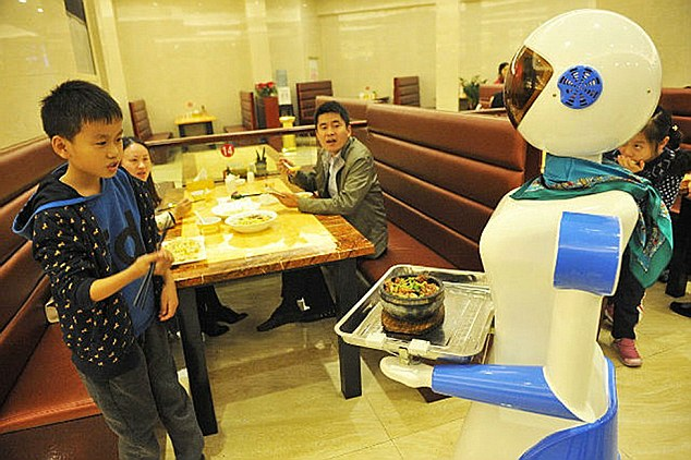 "A Chinese restaurant owner inspired by the restaurant Bots from the hit US show Sam and Cat has created a restaurant filled with robots. The robot restaurant on the TV show features robot waiters like Tandy and Bungle, and now a restaurant in Ningpo, a seaport city in north-eastern China's Zhejiang province, has also taken on robot staff. Although wages for the robots in the city's Liancheng shopping mall are non-existent, they still do not come cheap at around 6,000 GBP each. But with a five-year-warranty on each robot, and the fact that they only need to be charged four-hours-a-day, the owner Lu Dike, 48, reckons in the long-term it is going to save a fortune on wage bills. And the robots have not just been popular with fans of the US series, but also with people who have not even seen the show and want to experience being serviced by robot staff. The ""waiters"" navigate their way around with the use of an optical sensing system, enabling them to independently serve food to any table within the restaurant. Additionally, the robots have the capability to speak up to 40 phrases in Mandarin Chinese, such as ""enjoy your meal"". And restaurant owner Dike is even being pressured now to put the robots on sale for people to take home. He said: ""I get asked at least once a day if I'm prepared to sell one of them, who knows, maybe it might be a good sideline."" One of those who wants to buy one was customer Xu Yuan, 34, who said: ""I really like the service and I think I would really like one at home, my son has been pestering me ever since we came here for a snack after a trip to the movies."" (ends)"