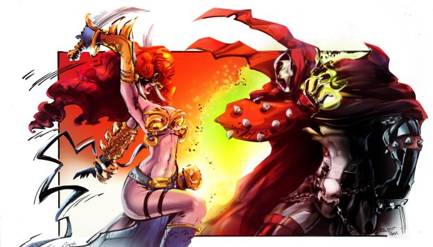 angela_vs_spawn___colored_by_smallesthing-d4fqdzc