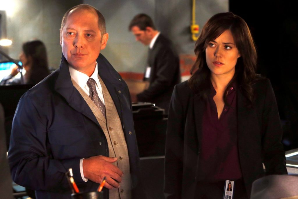 "THE BLACKLIST -- ""Wujing"" Episode 102 -- Pictured: (l-r) James Spader as Raymond ""Red"" Reddington, Megan Boone as Elizabeth Keen -- (Photo by: Will Hart/NBC)"