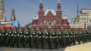 Russian military personnel march in Moscow's Red Square during a rehearsal Thursday for the Victory Day military parade that will take place Saturday to celebrate the 70th anniversary of the victory over Nazi Germany in World War II.