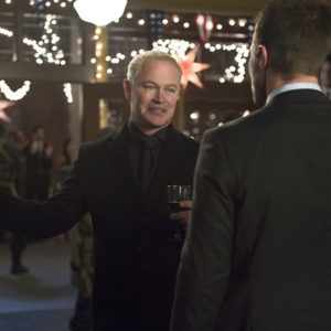 "Arrow -- ""Dark Waters"" -- Image AR409B_0320b.jpg -- Pictured (L-R): Neal McDonough as Damien Darhk and Stephen Amell as Oliver Queen -- Photo: Diyah Pera/ The CW -- © 2015 The CW Network, LLC. All Rights Reserved."
