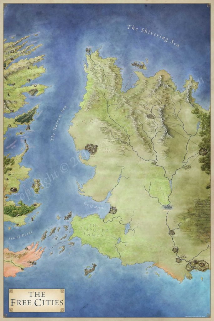 The map of the free cities for George RR Martin's series A Song of Ice and Fire. The map includes details of the Narrow Sea, the castles of Dragonstone and Storm's End to the free cities of Lys, Pentos and Braavos