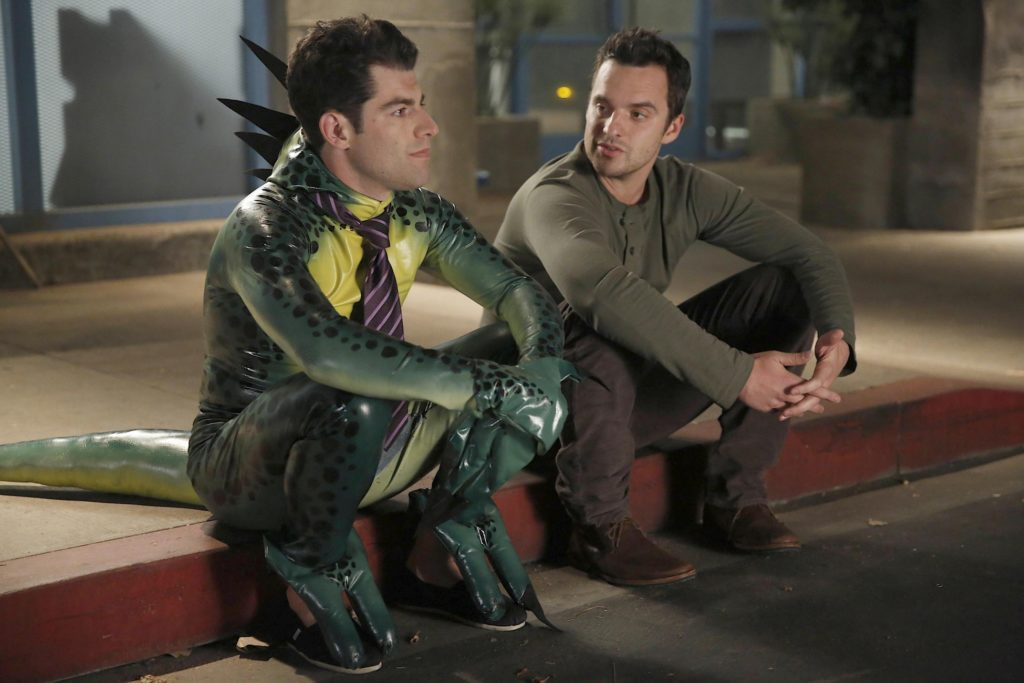 "NEW GIRL:  Nick (Jake Johnson, R) and Schmidt (Max Greenfield, L) have a heart-to-heart discussion in the ""Keaton"" episode of NEW GIRL airing Tuesday, Oct. 22 (9:00-9:30 PM ET/PT) on FOX.  ©2013 Fox Broadcasting Co.  Cr:  Greg Gayne/FOX"