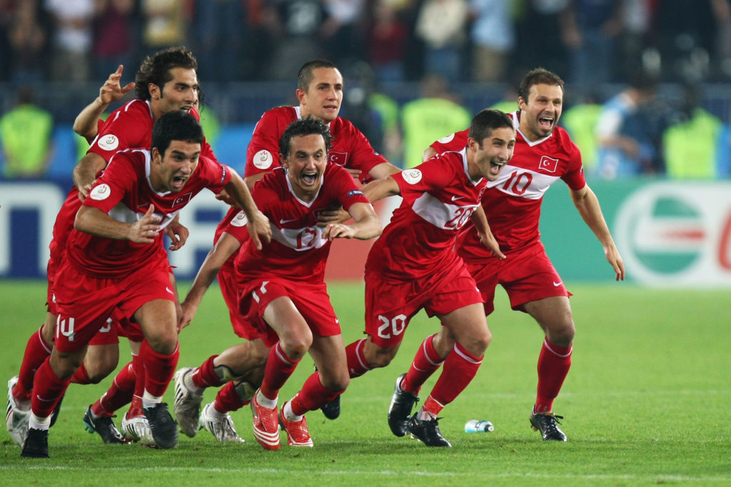 VIENNA, AUSTRIA - JUNE 20:  Turkey players celebrate after winning penalty shoot out during the UEFA EURO 2008 Quarter Final match between Croatia and Turkey at Ernst Happel Stadion on June 20, 2008 in Vienna, Austria.  (Photo by Martin Rose/Bongarts/Getty Images)
