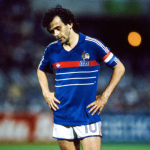 Michel Platini of France during the Semi Final Football European Championship ( Euro 1984 ) between France and Portugal, Marseille, France on 23 June, 1984 ( Photo by Michel Barrault / Onze / Icon Sport via Getty Images )
