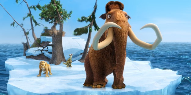 """This image released by 20th Century Fox shows the characters Diego, voiced by Denis Leary, left, Sid, voiced by John Leguizamo and Manny, voiced by Ray Romano in a scene from the animated film, """"Ice Age: Continental Drift."""" (AP Photo/20th Century Fox) 07132012xGUIDE"""