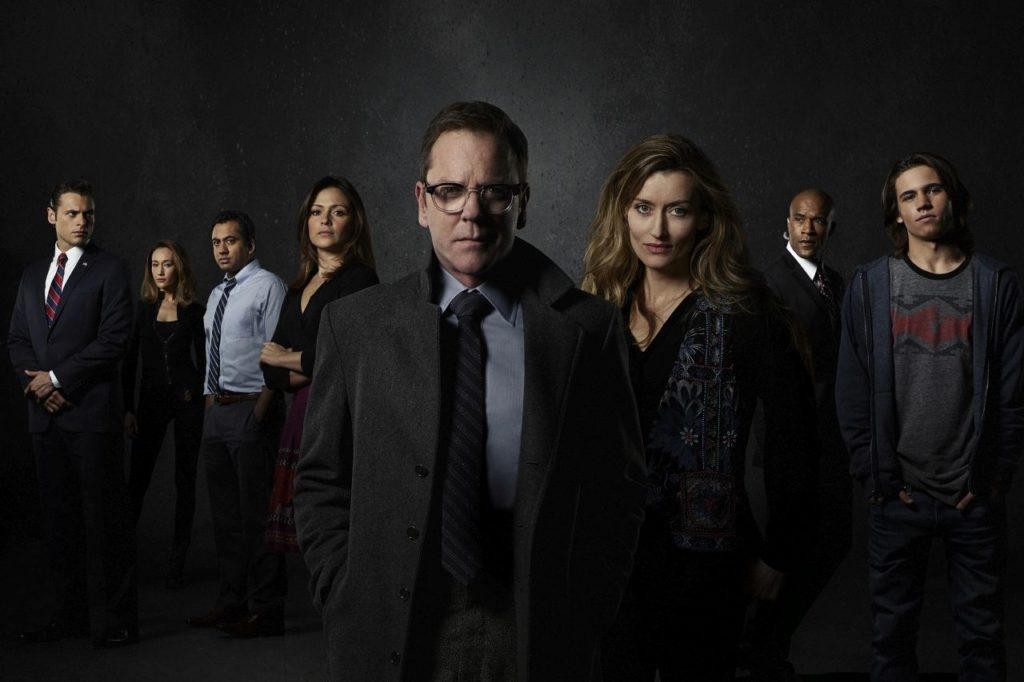 "DESIGNATED SURVIVOR - ABC's ""Designated Survivor"" stars Adan Canto as Aaron Shore, Maggie Q as Hannah Watts, Kal Penn as Seth Wheeler, Italia Ricci as Emily Rhodes, Kiefer Sutherland as Tom Kirkman, Natascha McElhone as Jessica Kirkman, LaMonica Garrett as Mike Ritter and Tanner Buchanan as Leo Kirkman. (ABC/Bob D'Amico)"