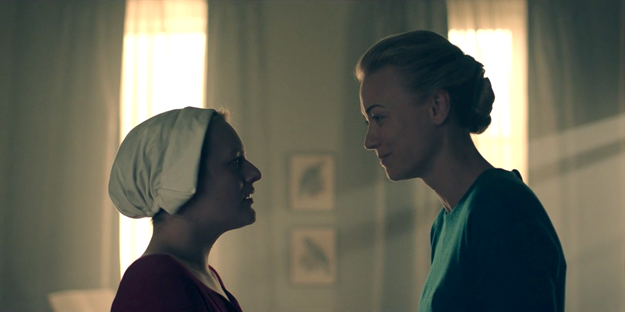 serena joy and offred handmaids tale episode three side shot