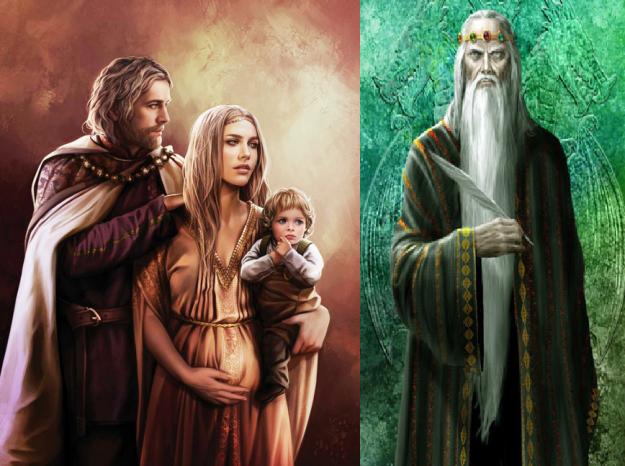 solda Jaehaerys II. Targayen, eşi ve çocukları - sağda Jaehaerys I. Targaryen