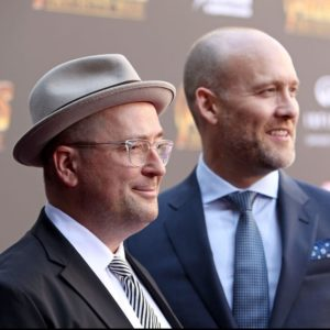 HOLLYWOOD, CA - APRIL 23:  Screenwriters Christopher Markus (L) and Stephen McFeely attend the Los Angeles Global Premiere for Marvel Studios? Avengers: Infinity War on April 23, 2018 in Hollywood, California.  (Photo by Jesse Grant/Getty Images for Disney)