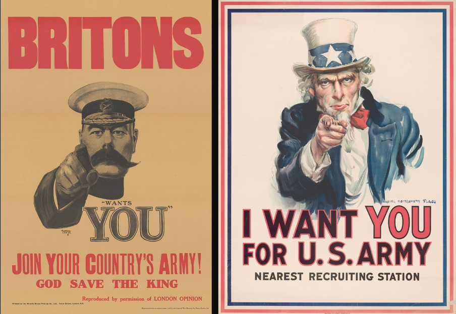 Soldaki poster Leete tarafından İngiltere Savaş Bakanı Lord Kitcehener'ı gösterirken, Flagg'in sağdaki posteri hayali bir kahraman olan Uncle Sam'i aynı pozda gösteriyor.