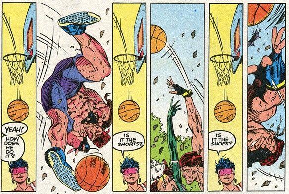 x man plays basketball
