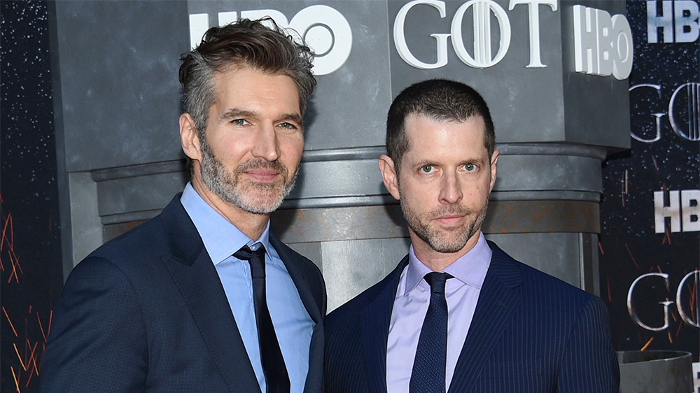 """Mandatory Credit: Photo by Evan Agostini/Invision/AP/Shutterstock (10186832oz) David Benioff, D.B. Weiss. Creators and executive producers David Benioff, left, and D.B. Weiss pose together at HBO's """"Game of Thrones"""" final season premiere at Radio City Music Hall, in New York NY Premiere of """"Game of Thrones"""" Final Season, New York, USA - 03 Apr 2019"""