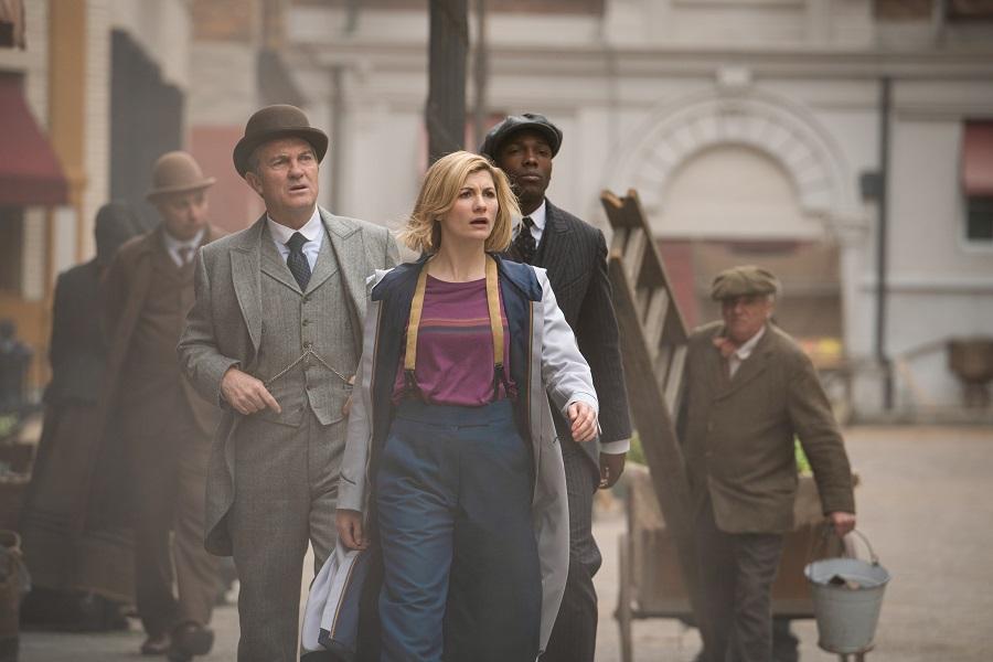 Bradley Walsh as Graham, Jodie Whittaker as The Doctor, Tosin Cole as Ryan - Doctor Who _ Season 12, Episode 4 - Photo Credit: Ben Blackall/BBC Studios/BBC America