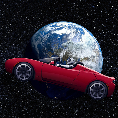 tesla in space 500x500